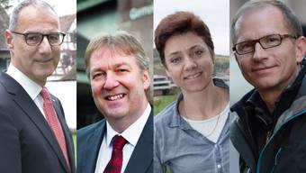 Die vier Kandidierenden für das Gemeindepräsidium in Riehen: Thomas Strahm (LDP), Hansjörg Wilde (parteilos), Christine Kaufmann (EVP) und Guido Vogel (SP).