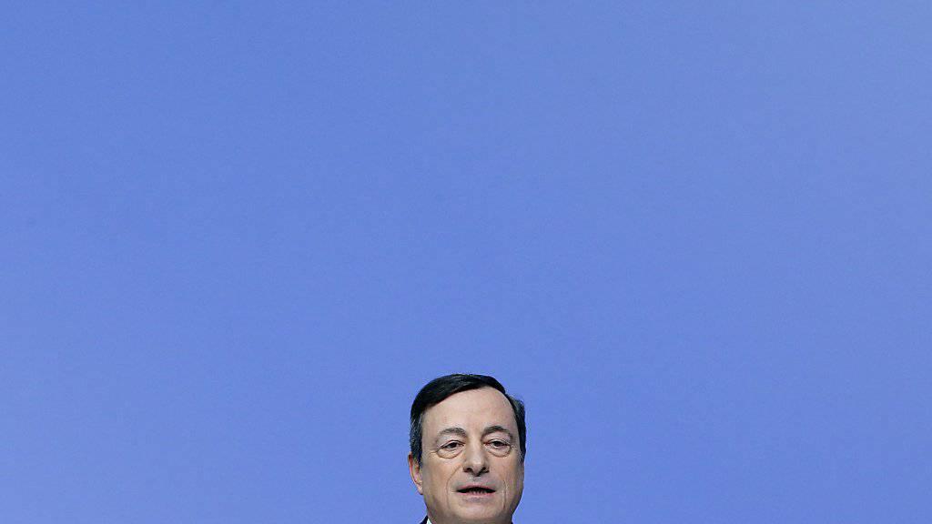 EZB-Chef Mario Draghi während der Medienkonferenz in Frankfurt