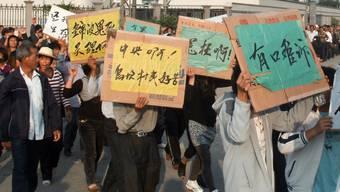 Protestierende in Wukan (Archiv)