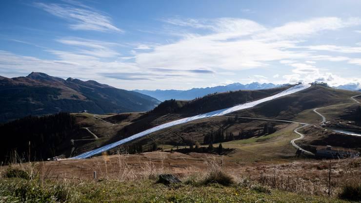 Die Piste aus konserviertem Schnee in Kitzbühel. Bild: Keystone