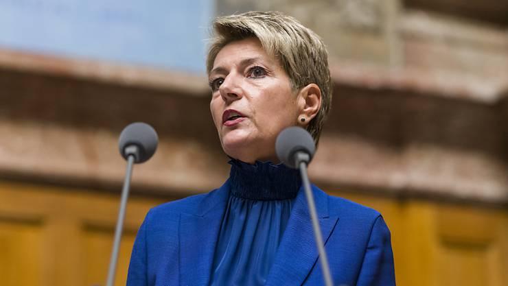 Justizministerin Karin Keller-Sutter hat sich in den Räten für Kompromisse zum E-ID-Gesetz eingesetzt. Das Referendum konnte sie damit aber nicht abwenden. (Archivbild)