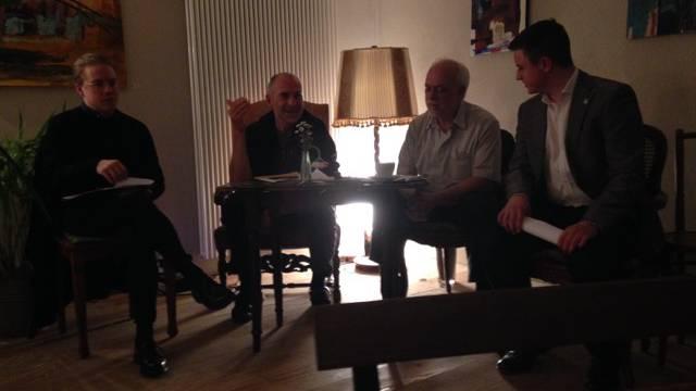 Von links nach rechts: Herr Vock (Grossrat SP Baden), Herr Gagneux (INWO), Herr Jung (Grundikommen bi dä Lüt), Herr Keiser (Kandidat Grossrat GLP Baden)