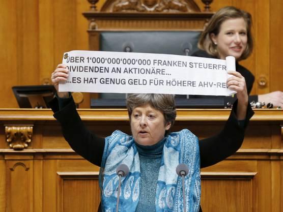 Kämpft gegen Steueroptimierung und für die AHVPlus-Initiative: Margret Kiener Nellen.