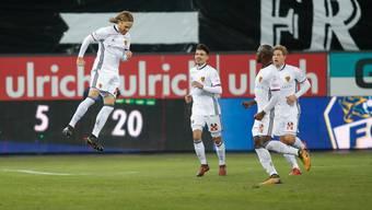 Basel Michael Lang bejubelt seinen 1:1-Ausgleichstreffer gegen Luzern.