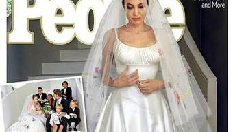 Der Screenshot des People Covers zeigt Angelina Jolie im Brautkleid