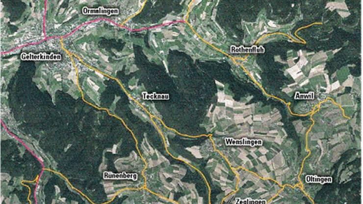 Im Falle der eingequetschten Frau haben die Sanitäter, statt von Gelterkinden direkt über Tecknau nach Wenslingen, die Route über Ormalingen, Rothenfluh, Anwil und Oltingen gewählt.