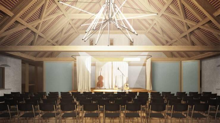 Eine mobile Bühne erlaubt Konzerte, möglich sind aber auch Bankette und Sitzungen.