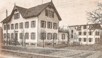 Die Gemeinde betrieb hinter der Armenanstalt an der Jurastrasse ein kleines Krankenasyl (rechts hinten im Bild). ORTSGESCHICHTE WOHLEN