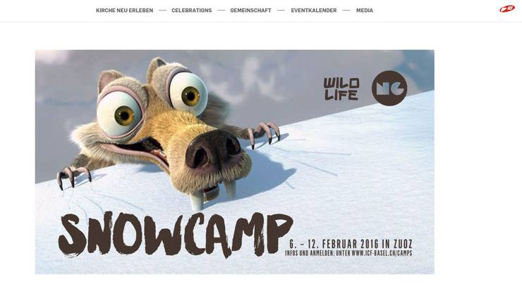 Mit diesem Bild wirbt ICF für das Kinder-Schneesportlager.