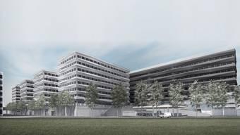 Stücki Business-Park: Die vier neuen «Fingerdocks» sollen bis 2023 gebaut sein (Visualisierung von Swiss Prime Site).ho
