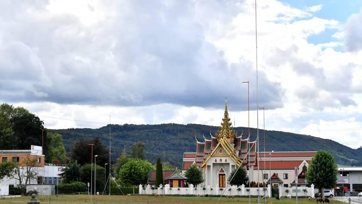 Auf dem noch brach liegenden Grundstück neben dem buddhistischen Tempel in Gretzenbach soll die Versammlungshalle gebaut werden.