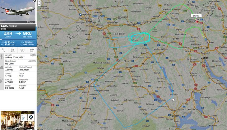 So kreiste LX92 über dem Aargau.