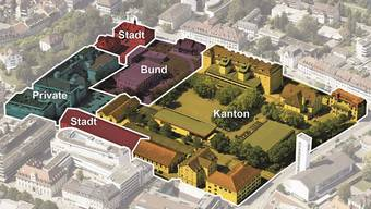 Die heutigen Eigentumsverhältnisse auf dem Aarauer Kasernenareal (von Südosten gesehen). Das Areal wird in ein nördliches, mittleres und südliches Band gegliedert.