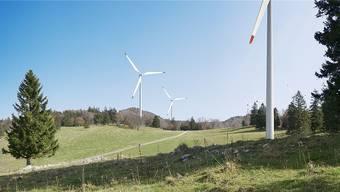 Visualisierung des geplanten Windparks auf dem Grenchenberg.