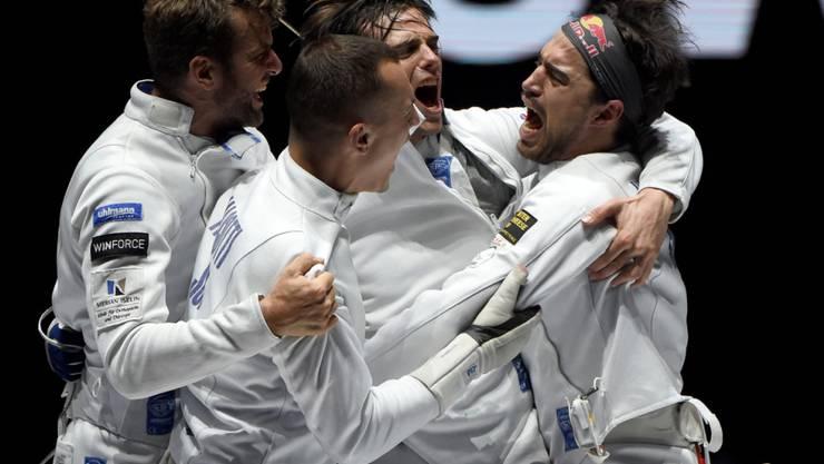 Die Schweizer Degenfechter bei ihrem Gewinn von WM-Bronze im Juli in Budapest (von links nach rechts): Benjamin Steffen, Lucas Malcotti, Michele Niggeler und Max Heinzer