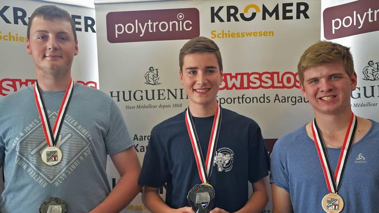 Das U21-Podest: (von l.) Ben Brechbühl (2.), Robin Moser (1.) und Lukas Burkhalter (3.)