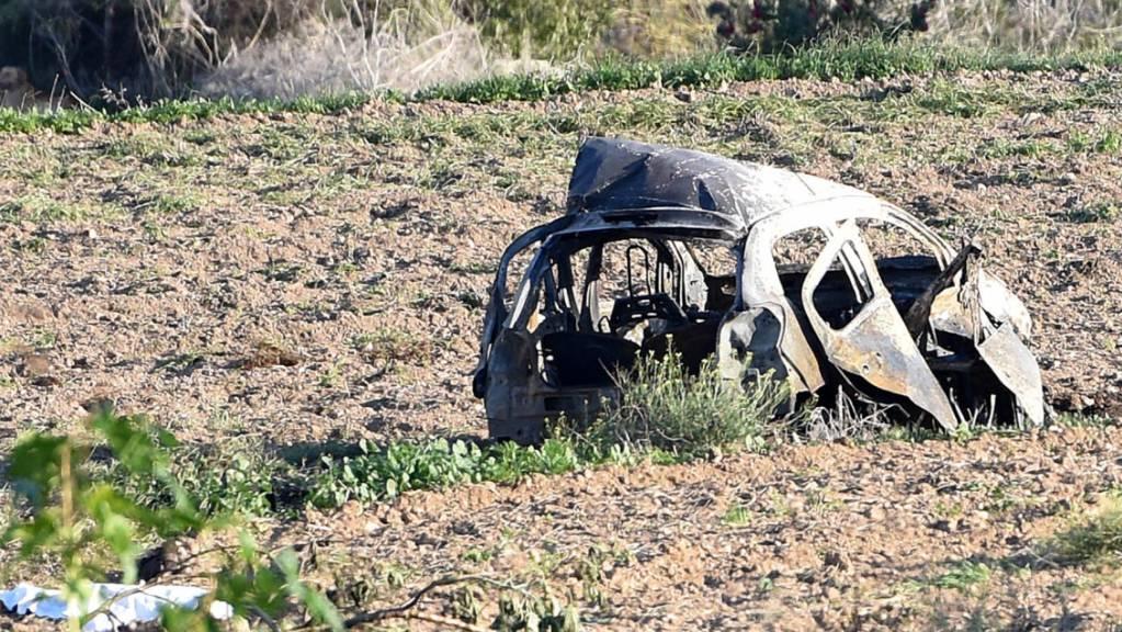 Das Autowrack der 2017 bei einem Bombenanschlag auf Malta getöteten Journalistin Daphne Caruana Galizia. (Archivbild)