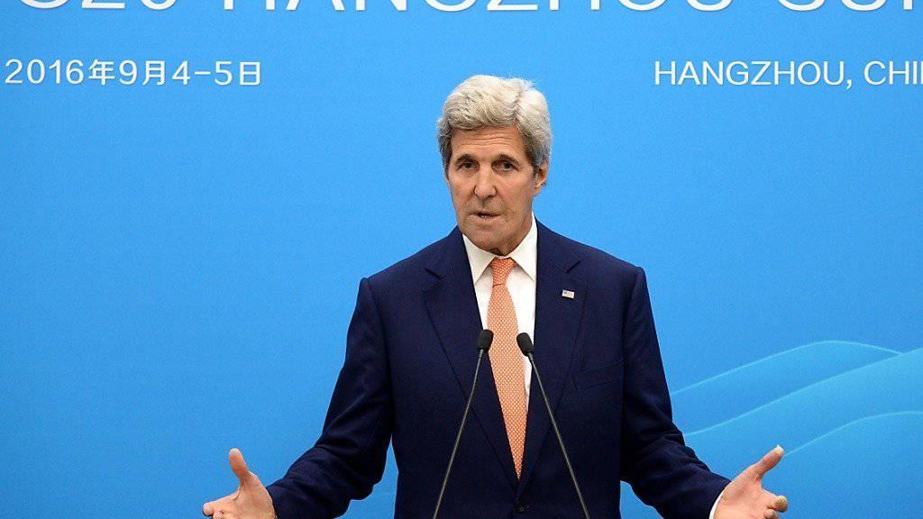 US-Aussenminister Kerry am G20-Gipfel in Hangzhou - dort bemüht er sich mit der russischen Delegation um eine Feuerpause in Syrien.