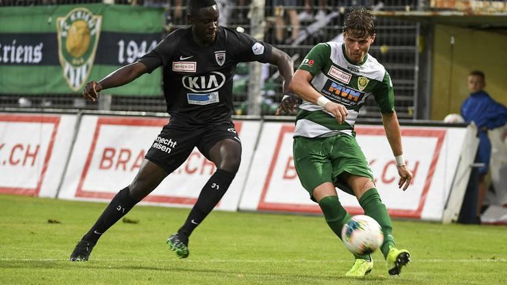 Sturmjuwel Yvan Alounga erzielt gegen Kriens ein Traumtor - gleichzeitig seine Torpremiere im Profifussball
