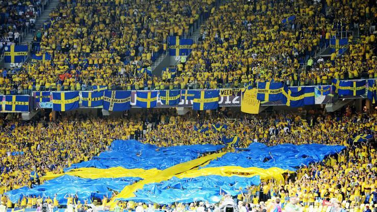 Schwedische Fans an der EM 2012 in der Ukraine.