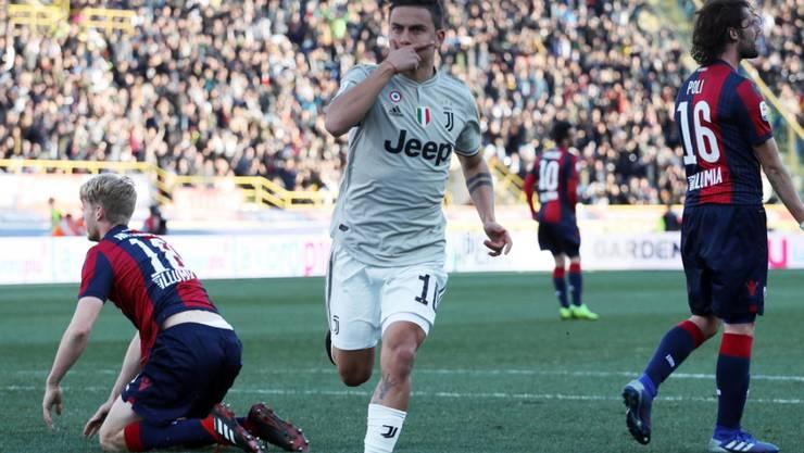 Paulo Dybala nach dem 1:0-Siegestor für Juventus in Bologna - mit seiner typischen Jubelgeste