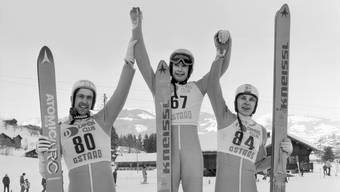 Ernst Vettori auf dem zweiten Platz am Weltcup Skispringen 1985/86 in Gstaad.