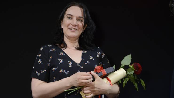 Terézia Mora war im Stadttheater Solothurn hoch erfreut über den Erhalt des Solothurner Literaturpreises 2017.