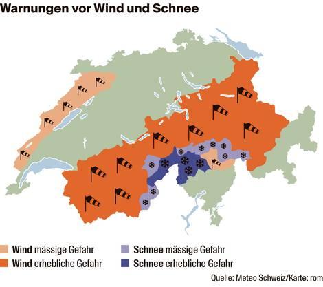 Warnungen wegen starken Windes sind in der Schweiz derzeit weit verbreitet.