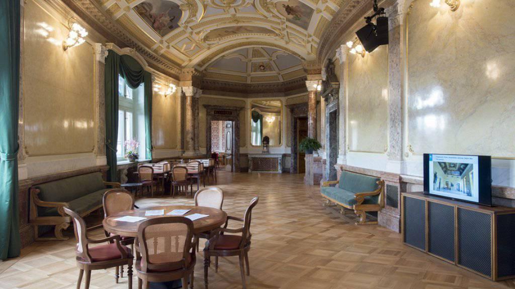 """Die frisch renovierte Wandelhalle ist wieder """"ein Bijou der Handwerkskunst der Belle Epoque""""."""