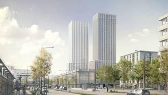 Das Projekt für ein neues Fussballstadion auf dem Zürcher Hardturm-Areal sieht auch zwei Hochhäuser mit Wohnungen und Büros vor. (Visualisierung)
