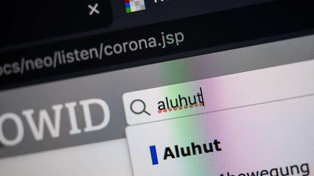 Das Wort «aluhut» steht auf der Homepage des Online-Wortschatz-Informationssystem Deutsch (OWID) des Leibniz-Institut für Deutsche Sprache (IDS) im Suchfeld. Das Wort wurde in das Wörterbuch der Neologismen, also der neuen Wörter, aufgenommen. Foto: Sebastian Gollnow/dpa