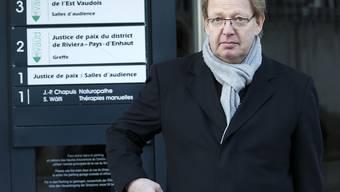 Der frühere Radprofi am Montag vor dem Prozess in Vevey.