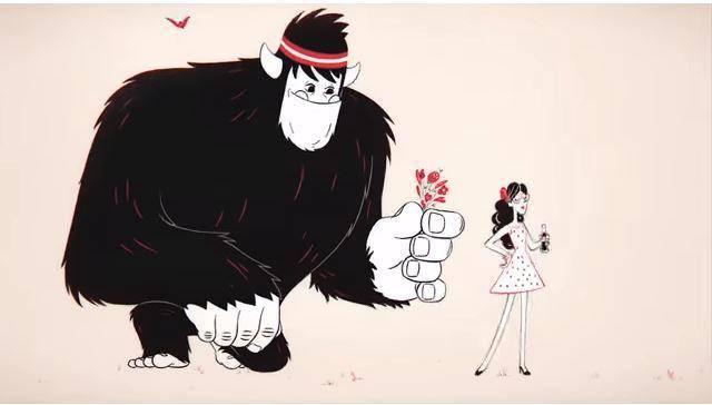 ...während Konkurrent Coca Cola ausschliesslich auf Zeichentrickfiguren setzt. (© Screenshot: Youtube/Coca Cola)