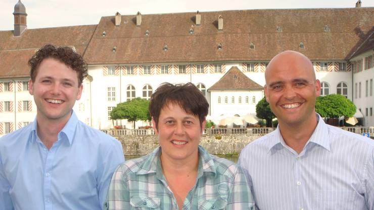 v.l.: Gilles Ducaud (Präsident JCI), Ruth Stampfli (EFG-ED) und Ivan Ruetsch (JCI)