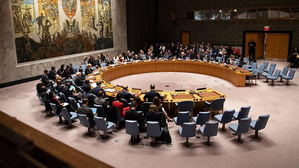 Blick auf eine Sitzung des Sicherheitsrates der Vereinten Nationen (UN). Deutschland übernimmt am 1. Juli den Vorsitz des UN-Sicherheitsrates.