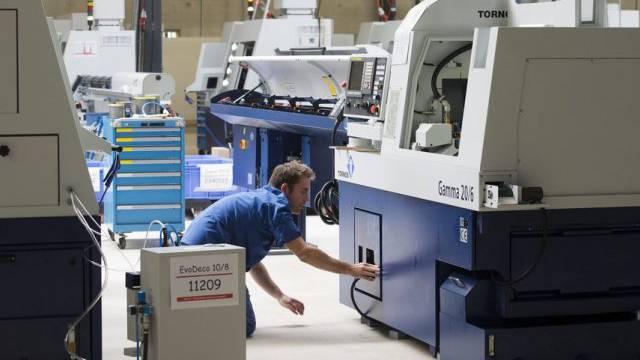 Eine Fabrikationshalle der Tornos-Maschinenfabrik in Moutier