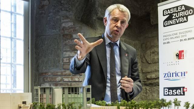 Nicolas Bideau, Chef Präsenz Schweiz, am Dienstag vor den Medien