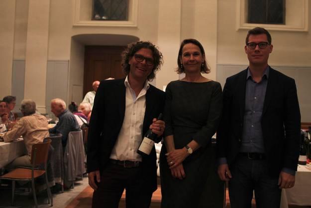 Weinhändler Corti, Pfarrerin Huppenbauer, Organist Jäggi (von links nach rechts).