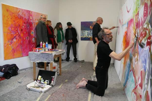 Gianni Vasari (vorne) und Markus Waber beim gemeinsamen Malen im Rehmann Museum.