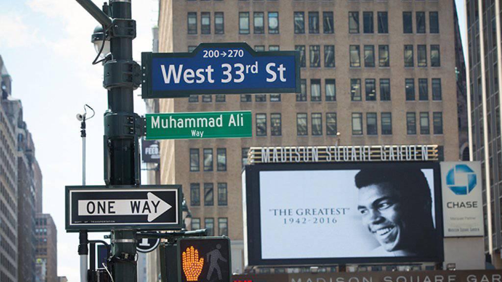 Eine Woche lang heisst ein Strassenabschnitt in New York «Muhammad Ali Way». (Handout pressoffice@cityhall.nyc.gov)
