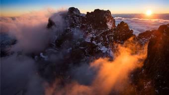 Bernina-Gruppe in den Ostalpen: Spektakuläre Luftaufnahmen sollen den Franzosen die Schweiz schmackhaft machen.