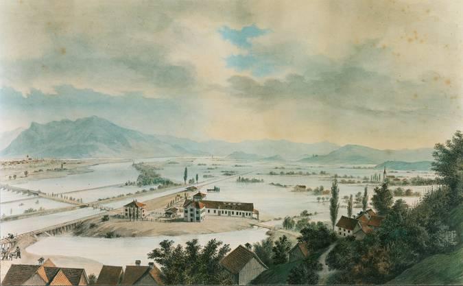 Überschwemmungen von 1868. Es gibt davon ein Aquarell aus dem  St.Galler Rheintal.