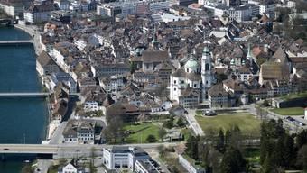Flugaufnahme der Altstadt Solothurn.