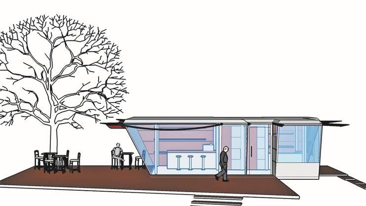 Eine Visualisierung eines Café-Lounge, wie sie laut Konzept vor drei Jahren ausgesehen hätte.