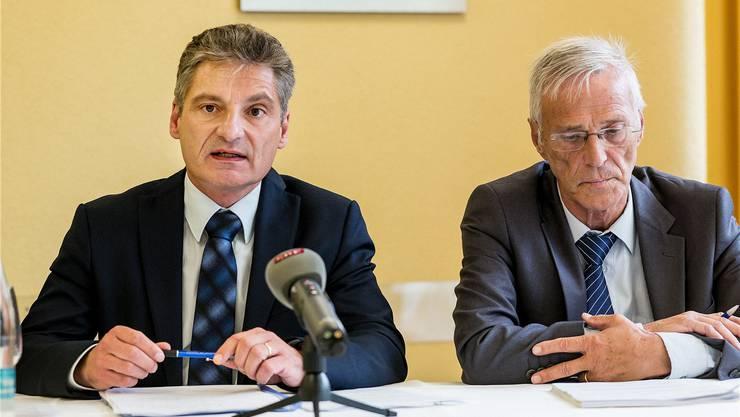 Präsentieren das Gutachten zu Kantonsspital und Wirtschaftskammer: CVP-Politiker Alex Imhof und Anwalt Kaspar Noser.