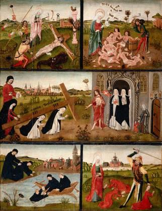 Christus empfängt seine Bräute: Votivtafel, aus St. Gertrud in Köln, um 1465, Eichenholz.