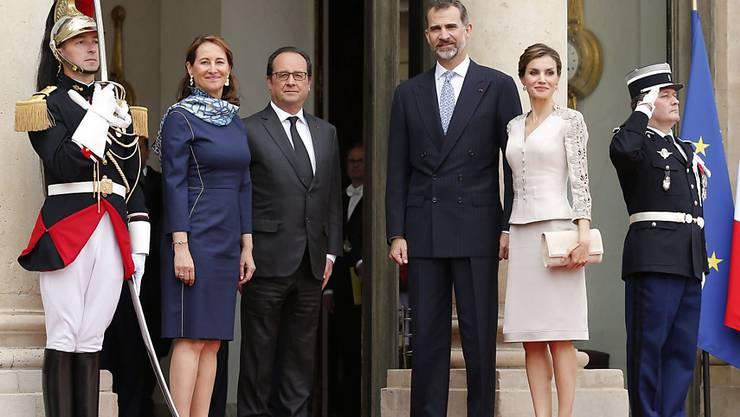 Von links: Umweltministerin Ségolène Royal, Präsident François Hollande, König Felipe VI. und Königin Letizia