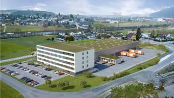 Bürohaus und Dispositionsfläche für den Logistikteil: So soll der neue TNT-Hauptsitz in Oftringen aussehen. Visualisierung/ZVG