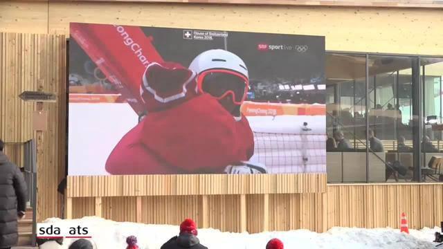 SO feiern Schweizer Fans Gisin, Zenhäusern und Holdener
