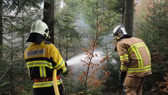 Hinter dem Fussballstadion Aarau brennt der Gönhardwald